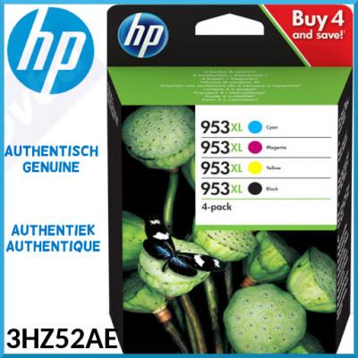 HP 953XL (4-Ink CMYK Pack) Black / Cyan / Magenta / Yellow Officejet High Capacity Original Ink Cartridges 3HZ52AE