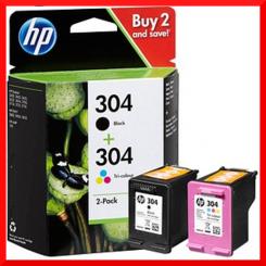 HP 304 (2-Pack) 304 Black + 304 CMY Color Original Ink Cartridges Combo Pack 3JB05AE
