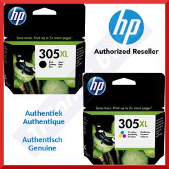 HP 305XL (2-Ink Bundle) - HP 305XL High Yield Black Original Ink Cartridge 3YM62AE (4 Ml.) + HP 305XL High Yield TriColor Original Ink Cartridge 3YM63AE (5 Ml.)