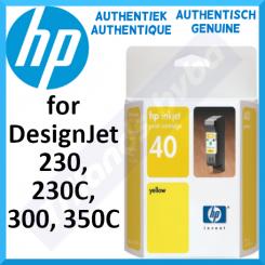 HP 40Y Yellow Original Ink Cartridge 51640Y (42 Ml.) - Outdated Sealed Original HP Pack