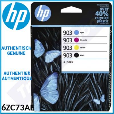 HP 903 (4-Pack CMYK) Black / Cyan / Magenta / Yellow Officejet Original Ink Cartridges 6ZC73AE