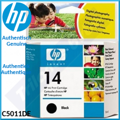 HP 14 Black Original Ink Cartridge C5011DE (26 Ml.) for HP OfficeJet 7100, 7110, 7110XI, 7115, 7130, 710XI, 7140, 7140XI, D125, D125XI, D135, D135XI, D145, D145XI, D155XI