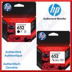 HP 652+652 (2-Ink Bundle) - HP 652 Black Original Ink Cartridge F6V25AE (360 Pages) + HP 652 Tri-Color Original Ink Cartridge F6V24AE (200 Pages)