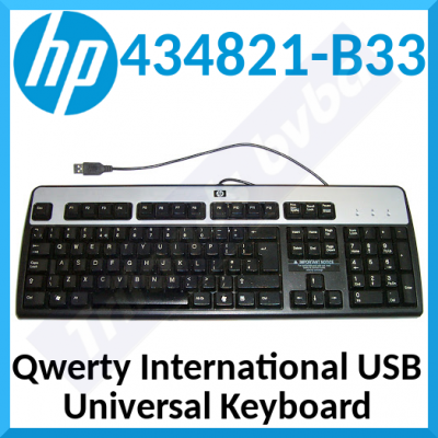 HP Wired USB Keyboard 434821-B33 (Qwerty International) Black / Silver Business Keyboard