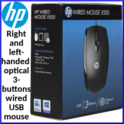 HP X500 right and left-handed optical 3 buttons wired USB Mouse E5E76AA#ABB