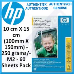 HP Advanced Glossy Inkjet Photo Paper Q8693A - 10 cm X 15 cm (100mm X 150mm) - 250 grams/M2 - 60 Sheets Pack