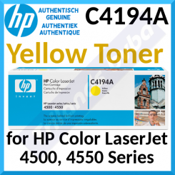 HP C4194A Yellow Original LaserJet Toner Cartridge (6000 Pages) for HP Color LaserJet 4500 Series, Color LaserJet 4550 Series - Special Clearance Price