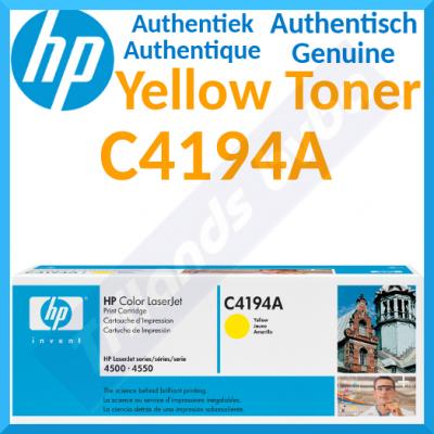 HP C4194A Yellow Original LaserJet Toner Cartridge (6000 Pages) for HP Color LaserJet 4500 Series, Color LaserJet 4550 Series