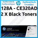 HP 128A (2-Pack) Black Original LaserJet Toner Cartridges CE320AD (2 X 2000 Pages) for HP Laserjet Pro cm1415fnw, cm1415fn, cm1415 mfp, cp1520, cp1520n, cp1520nw, ,cp1525n, cp1525nw