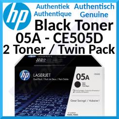 HP 05A (2-Pack) Black Original LaserJet Toner Cartridges CE505D (2 X 2300 Pages)