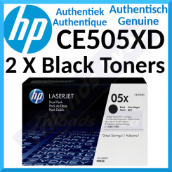 HP 05X (2-Pack) Black High Capacity Original LaserJet Toner Cartridges CE505XD (2 X 6500 Pages) + FREE HP QuickCalc Pocket Calculator F2217AA (Silver)