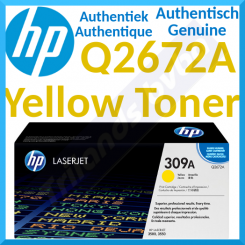 HP 309A Yellow Original LaserJet Toner Cartridge Q2672A (4000 Pages) - Special Clearance Price