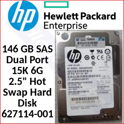 """HPE 146 GB SAS Dual Port 15K 6G 2.5"""" Hard Disk 652599-002 / 627114-001 - in Perfect Working condition - Refurbished"""