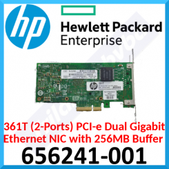 HPE 361T (2-Ports) PCI-e Dual Gigabit Ethernet NIC 656241-001 - 256MB Integrated buffer memory - Network Half Height Adapter.