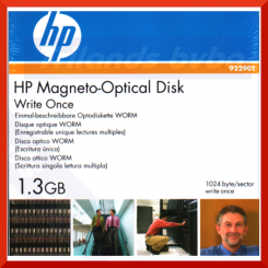 "HP 1.3 GB write-once optical disk-1024 bytes/sector 92290T (2X) - CCW Recording Format, 5.25"" Form Factor - WORM (Write Once Read Many)"