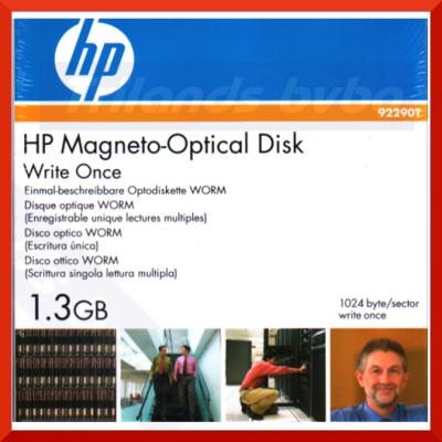 """HP 1.3GB write-once optical disk-1024 bytes/sector 92290T (2X) - CCW Recording Format, 5.25"""" Form Factor - WORM (Write Once Read Many)"""