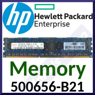 HPE 2 GB (1x2GB) Dual Rank x8 PC3-10600 DDR3-1333 Registered CAS-9 ECC Memory 500656-B21 - in Perfect Working condition - Refurbished