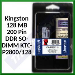 Kingston 128 MB 200 Pin DDR SO-DIMM Memory KTC-P2800/128 - 269085 - PC2100, 266Mhz (Mfgr's System P/N's: HP/Compaq 269085-B25, 285522-001, 317434-001, 336996-001, 371773-001, DC388A, DC388B, F4694A)