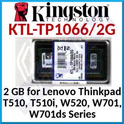 Kingston 2 GB SO-Dimm DDR3 ThinkPad Memory KTL-TP1066/2G - SODIMM 204-pin - DDR3 - 1066 MHz / PC3-8500 - non-ECC - for Thinkpad T510, T510i, W520, W701, W701ds Series