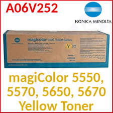 Konica Minolta A06V252 Yellow Original Toner Cartridge (6000 Pages) for Minolta MagiColor 5550, 5500DN, 5570, 5570EN, 5650EN, 5670EN - Special Clearance Price