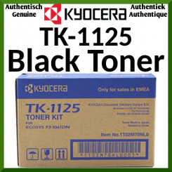 Kyocera TK-1125 Black Original Toner Cartridge (2100 Pages) for Kyocera FS-1325MFP, FS-1325MFP/KL3; FS-1061DN, 1061DN/KL3 - New - Original Packing - Stock Clearance