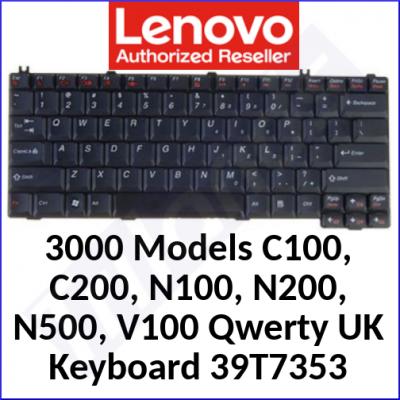 Lenovo 3000 Replacemant Genuine Keyboard 39T7353 (Qwerty UK) for Lenovo 3000 Models C100, C200, N100, N200, N500, V100