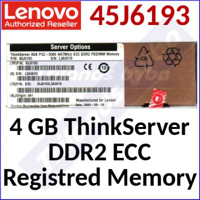 Lenovo 4 GB ThinkServer DDR2 ECC Registred Memory 45J6193 - DDR2 240 Pins ECC - DIMM - 240 Pins - 4 GB DDR2 - 667Mhz, PC2-5300, CL5, Registred ECC - for ThinkServer RD120, TD100, TD100X