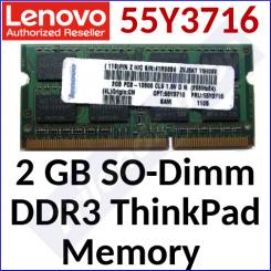Lenovo 2 GB SO-Dimm Memory 55Y3716 - DDR3, 204-pin, 1333MHz, PC3-10600, CL 9