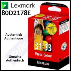 Lexmark 33 TriColor + 31 Photo (2-Ink Pack) Color Original Ink Cartridges Photo Pack 80D2178E ( 2 Ink + 20 Sheets PerfectPrint Photo Paper 10cm X 15cm)