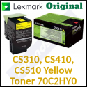 Lexmark 702HY Yellow High Yield Original Toner Cartridge 70C2HY0 (3000 Pages)