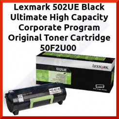 Lexmark 502UE Black Ultimate High Capacity Corporate Program Original Toner Cartridge 50F2U00 (20000 Pages) for Lexmark MS510dn, MS610de, MS610dn, MS610dte, MS610dtn