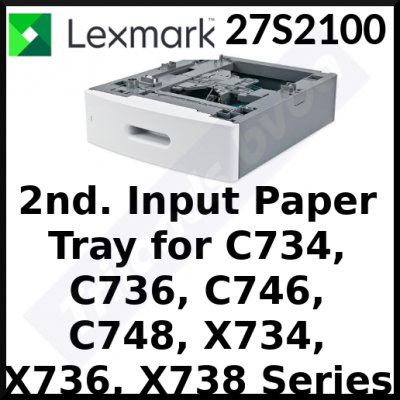 Lexmark 27S2100 Media / Paper Input Drawer + Tray - 550 Sheets A4 Media / Paper (2nd / Additional Drawer + Tray) for Lexmark C734de, C734dn, C734dw, C734n, C736de, C736dn, C736n, C746de, C746dn, C746n, C748de, C748dn, C748e, C748n, X734de, X736de, X738de