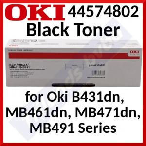 Oki 44574802 Black High Yield Original Toner Cartridge (7000 Pages) for Oki B431d, B431dn, MB461dn, MB461dn-L, MB471dn, MB471dn-L, MB471dnw-L, MB491dn, MB491dnw