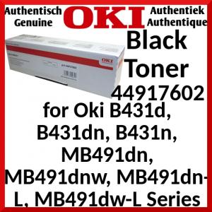Oki 44917602 Black Extra High Capacity Original Toner Cartridge (12000 Pages) for Oki B431d, B431dn, B431n, MB491dn, MB491dnw, MB491dn-L, MB491dw-L