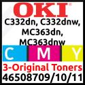 OKI 46508709 Yellow / 46508710 Magenta / 46508711 Cyan High Capacity Original Toner Cartridges (3-Toner Kit) - (3 X 3000 Pages) for Oki C332dn, MC363dn