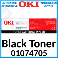 Oki 01074705 Black High Capacity Original Toner Cartridge Type 5H (5000 Pages) for OkiFax 5780, 5980, Lanier Fax 4560, 4585, Konica Fax KF-9845, KF-9865, Olympia Fax OF-858, OF-878