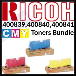 Ricoh 400839 Cyan, 400840 Magenta, 400841 Yellow (3-Toners CMY Bundle) Original Toner Cartridges Type 125 (3 X 5000 Pages) for Ricoh Aficio CL-2000, CL-3000, CL-3100 Series, Lanier LP-121 Series, NGR C-7417 Series