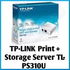 TP-LINK Print + Storage Server TL-PS310U - USB 2.0 - RJ-45 - 10Mb LAN, 100Mb LAN (TLP310U) for Printers, Scanners, Storage Devices, MFP Printers, Card Readers