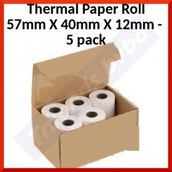 Thermal Paper Roll 57mm X 40mm X 12mm (for Bancontact Machines) - Standard Quality - Lenght ca. 19 Meters - 5 Pieces Pack