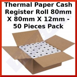 Thermal Paper Cash Register Roll 80mm X 80mm X 12mm - 50 Pieces Pack - Belgium Only